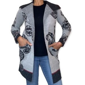 Maxsport floral paisley open cardigan with front pockets